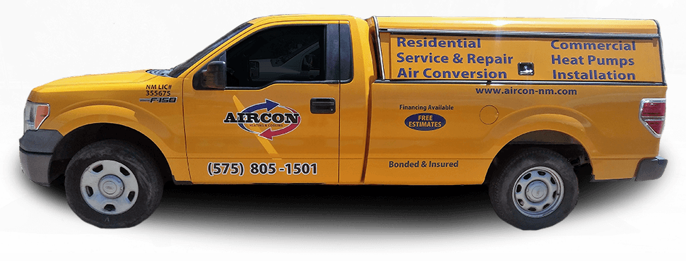 Aircon Truck displaying wide range of heating and cooling services in Las Cruces